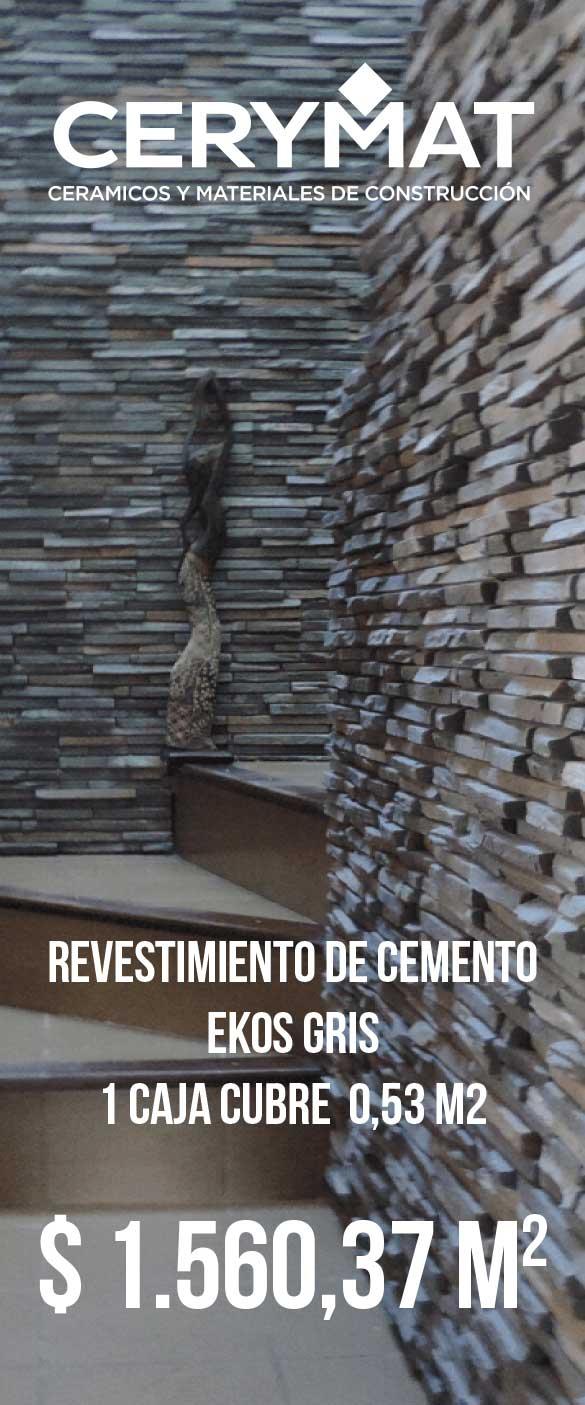 Revestimiento de cemento Ekos Gris Cj X 0,53 M2