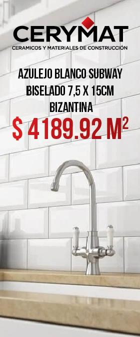Azulejo Blanco Subway Biselado 7,5 x 15 Bizantina