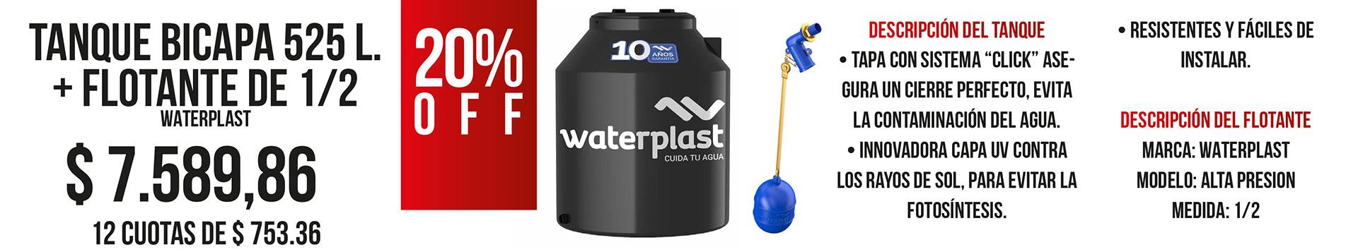 Tanque Bicapa Waterplast 525 Litros + Flotante de 1/2