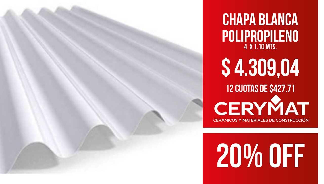 Chapa Blanca Polipropileno 4 Mt