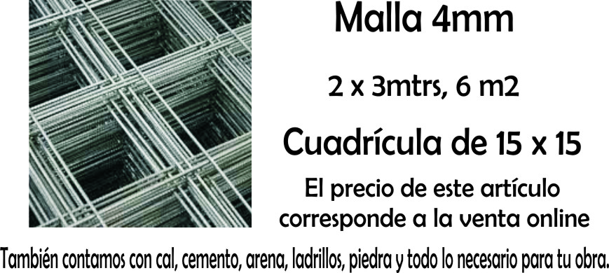 Malla De Hierro 15 X 15 2 X 3 Mts 4 mm Q 84 Mini