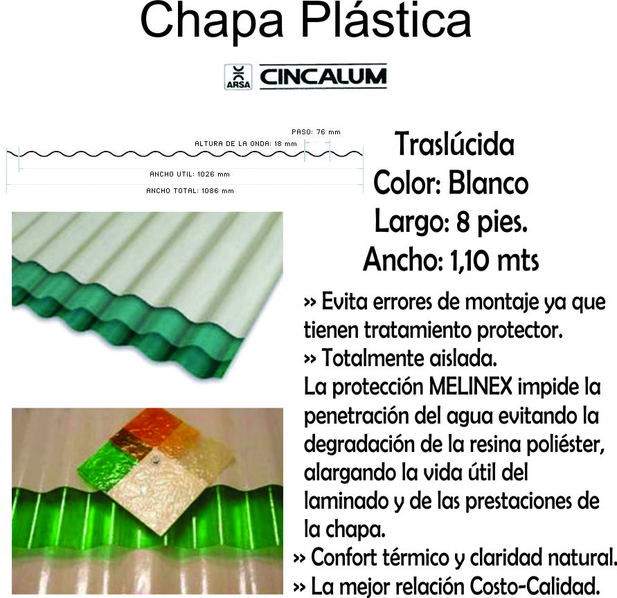 Chapa Plastica  2,40 Mts X 1,10 Mts Blanca