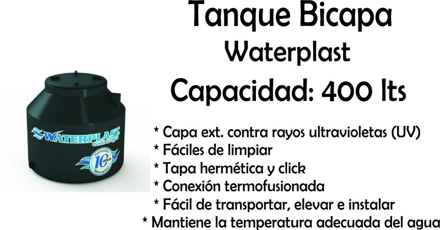 Tanque de Agua Bicapa 400 Lts Waterplast