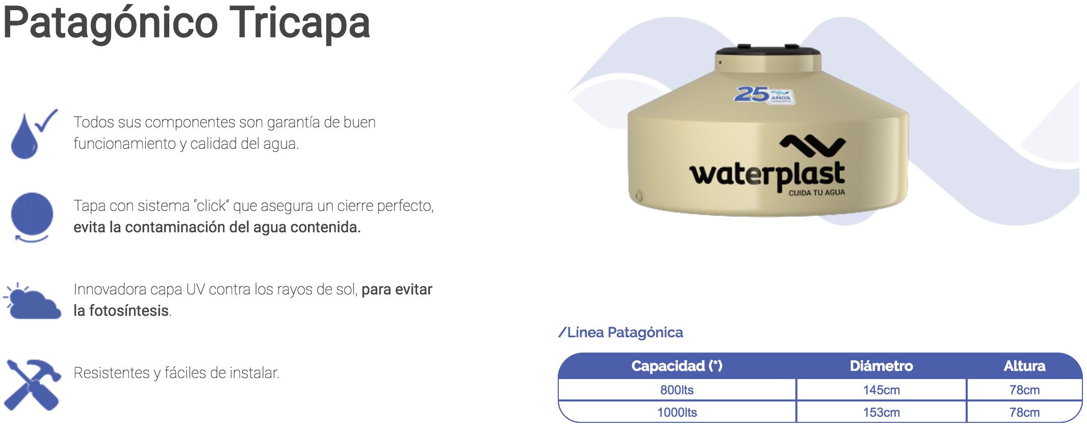 Tanque de Agua Tricapa Patagonico Waterplast 500 Lts