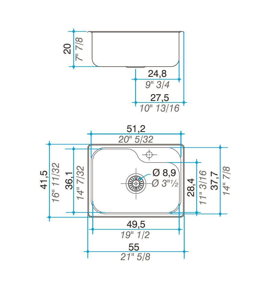 Pileta Acero Inoxidable Johnson Luxor Mini SI55 A 55X41,5X20