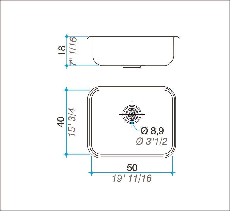 Pileta Acero Inoxidable Johnson E50/18 50X40X18 Simple