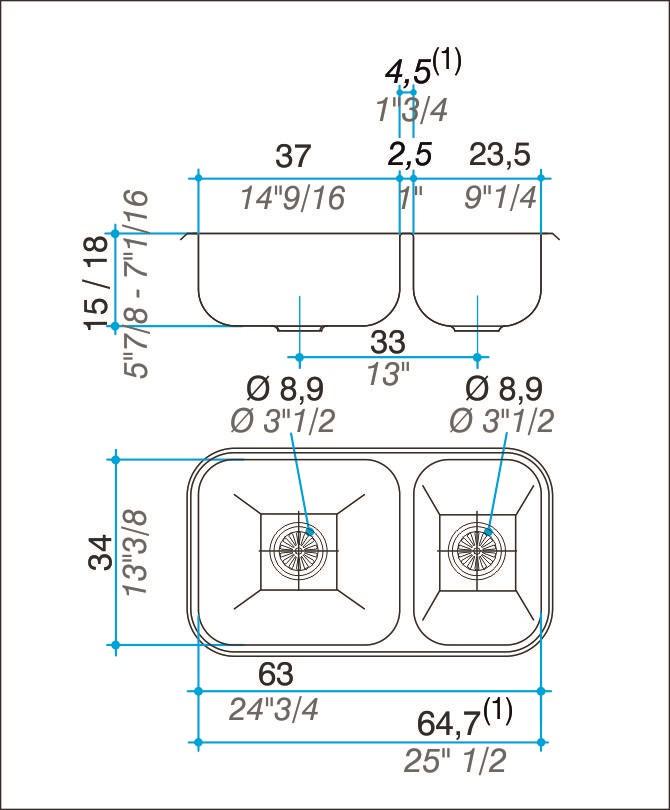 Pileta Acero Inoxidable Johnson R37 63 X 34 Doble