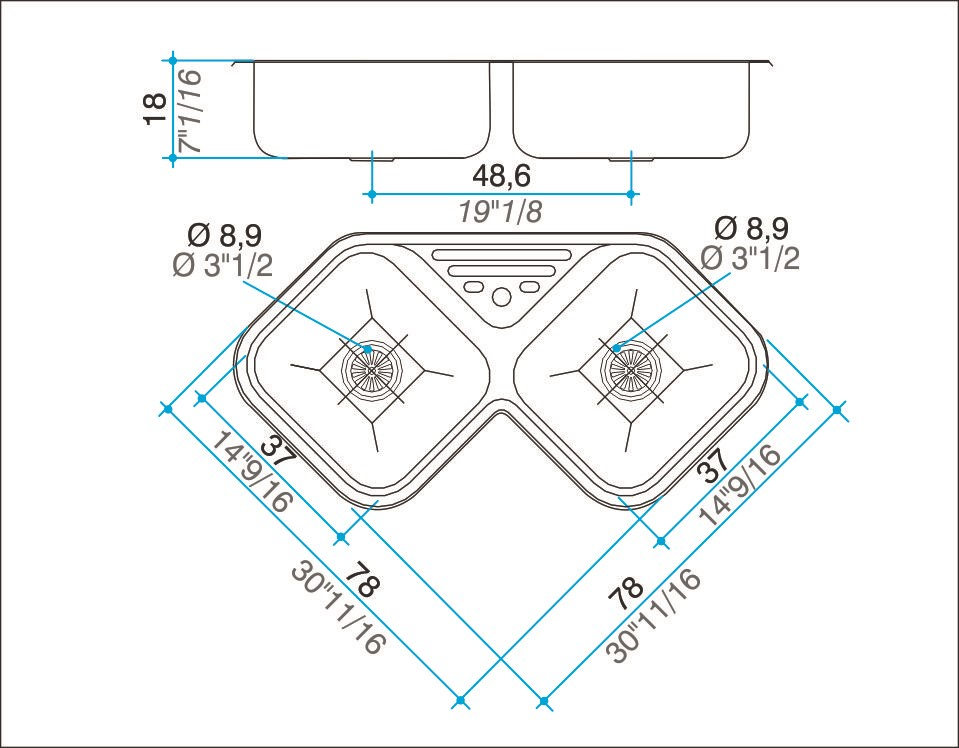 Pileta Acero Inoxidable Johnson Axad78A 78 X 78 X 18 Esquinera