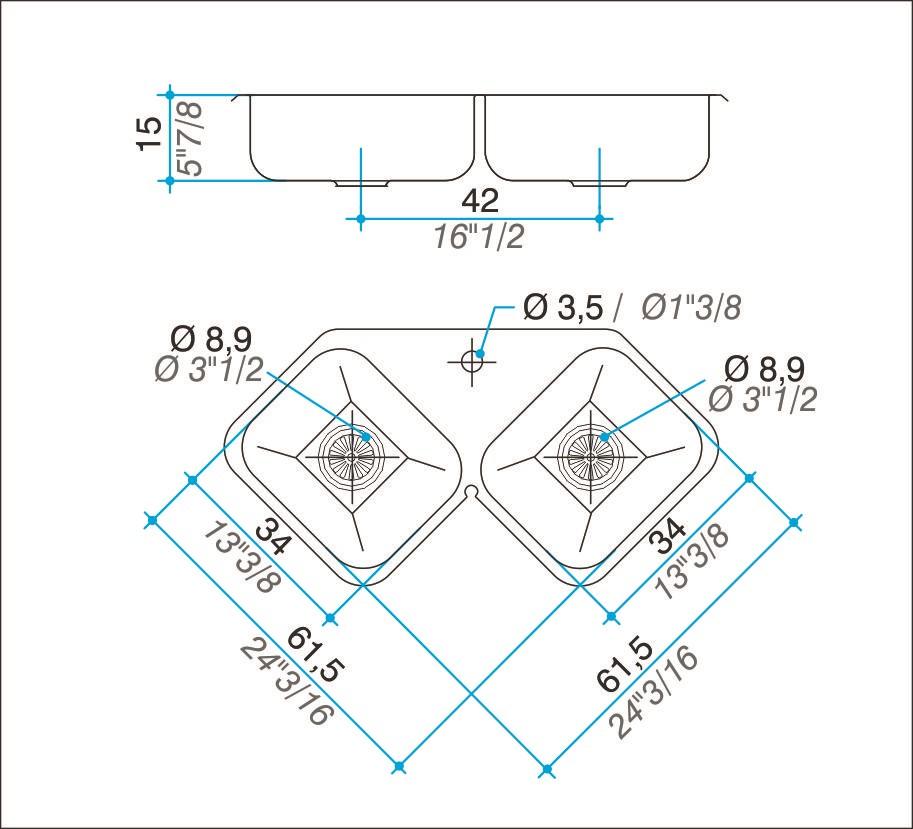 Pileta Acero Inoxidable Johnson X28 61,5 X 61,5 X 15 Esquinera