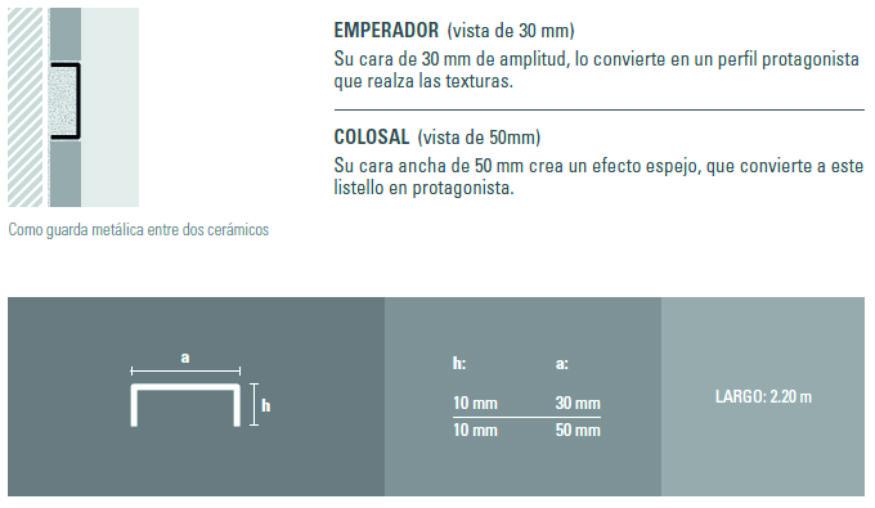 Varilla Listello Acero Atrim 430/05 Brillante 50 mm Colosal