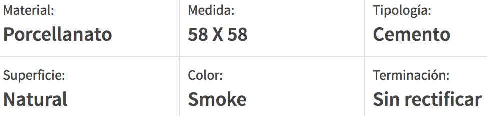 Porcelanato Esmerilado San Lorenzo Bauhaus Smoke 58X58 Cj.1,35
