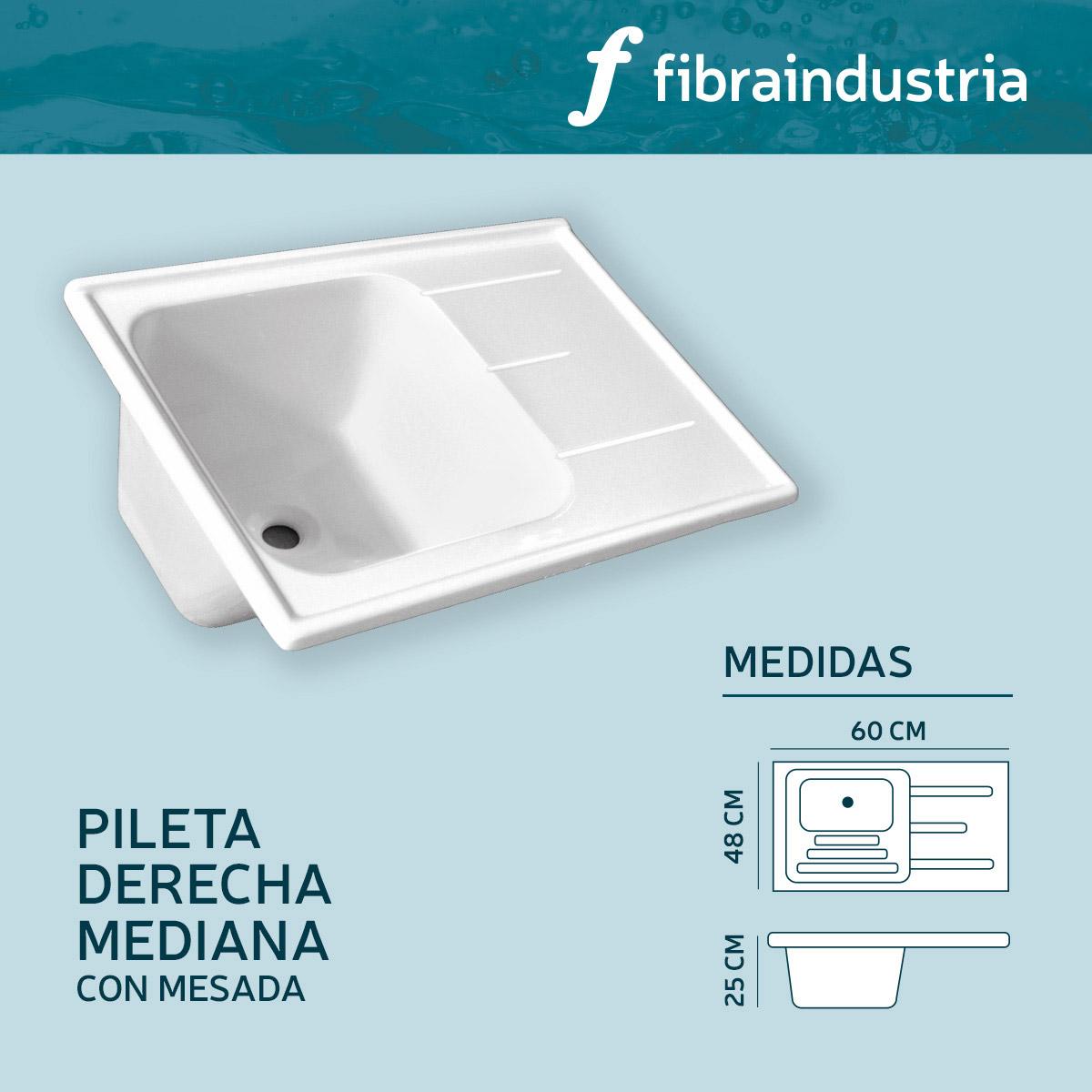 Pileta Marmol Sintetico 60 X 48 Con Mesada Derecha Fibraindustria