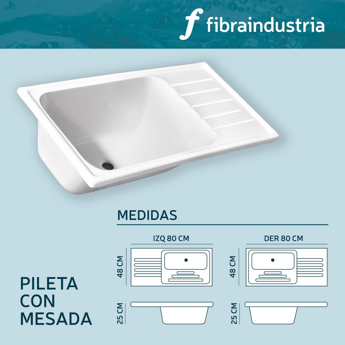 Pileta Fibraindustria Marmol Sintetico 80 X 48 Con Mesada Izquierda
