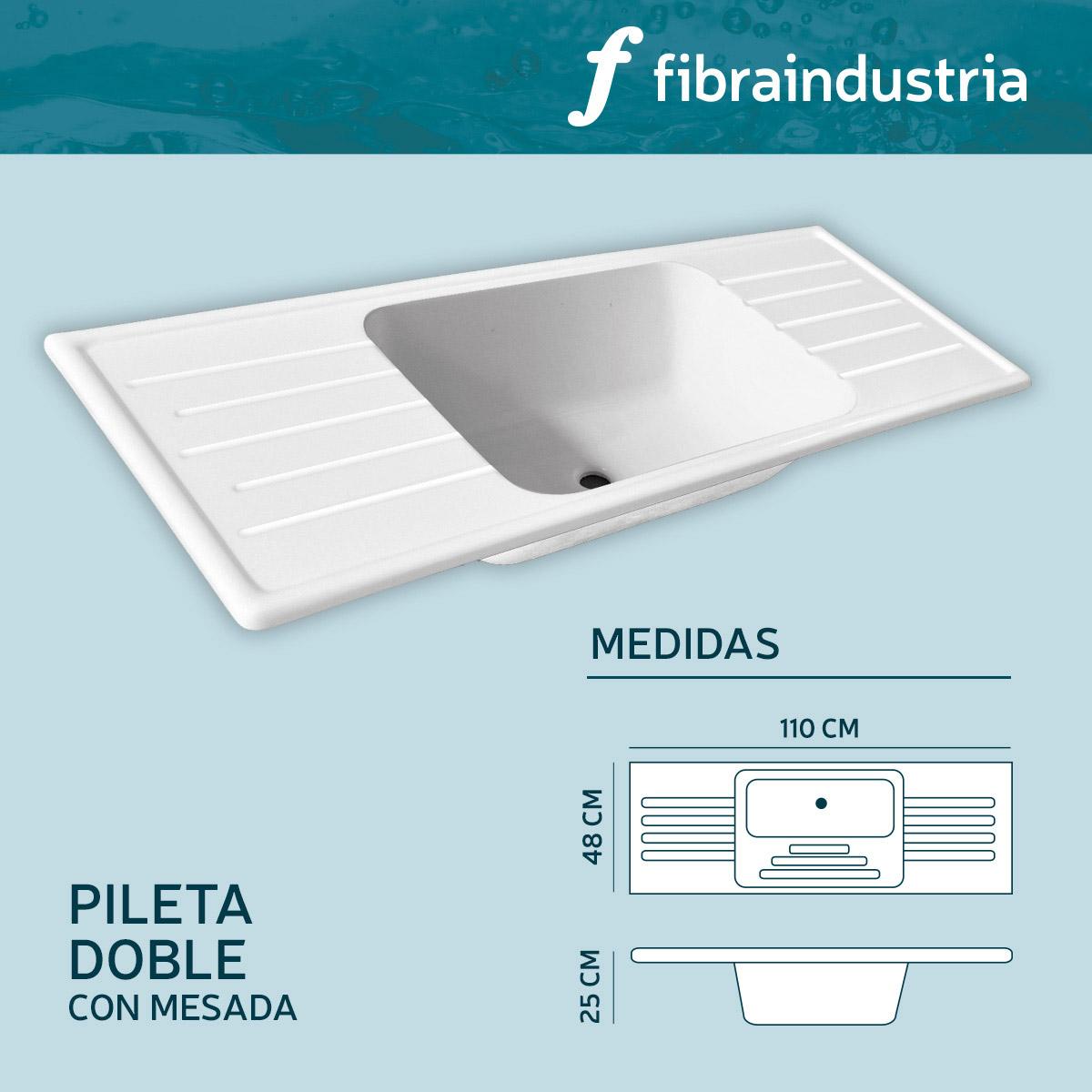 Pileta Fibraindustria Marmol Sintetico Doble 1,10 Con Mesada