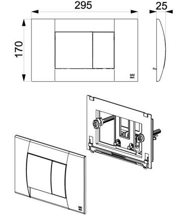 Tapa Y Tecla Ideal Para Deposito SUMA Cromo Mate 81300