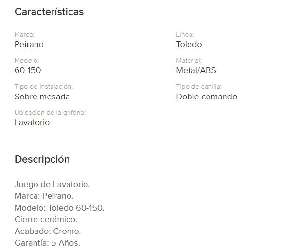 Juego Lavatorio Peirano Toledo Cierre Cerramico 60-150