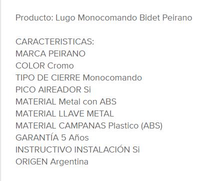 Juego Bidet Monocomando Peirano Lugo 70-133