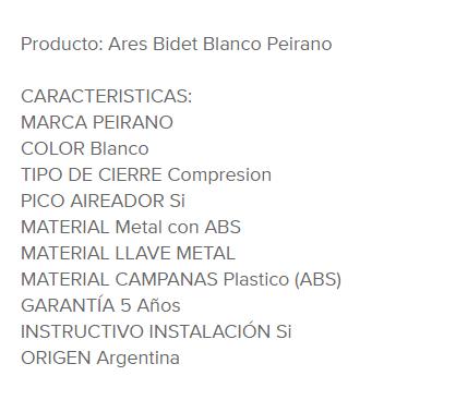 Juego Bidet Peirano Ares 314 Blanco Cromo