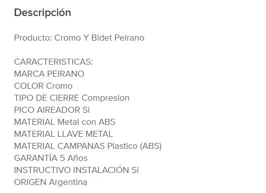 """Juego Bidet Peirano Cromo """"Y"""" 70-001N"""