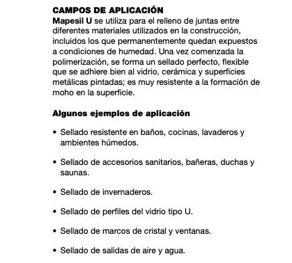 Sellador Mapei Mapesil U X 280 Grs