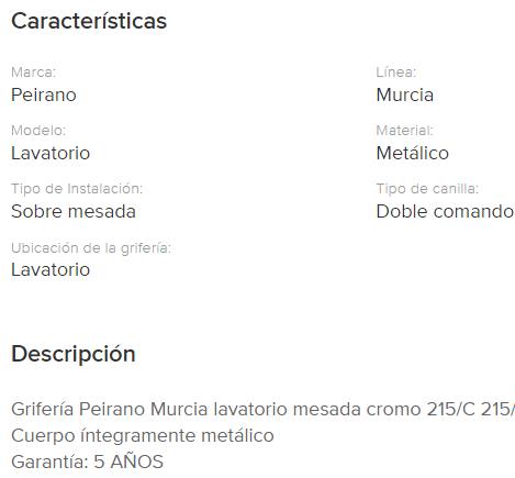Juego Lavatorio Peirano Murcia 215 Cr.