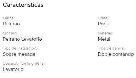 Juego Lavatorio Peirano Roda Lever 60-119 Cr