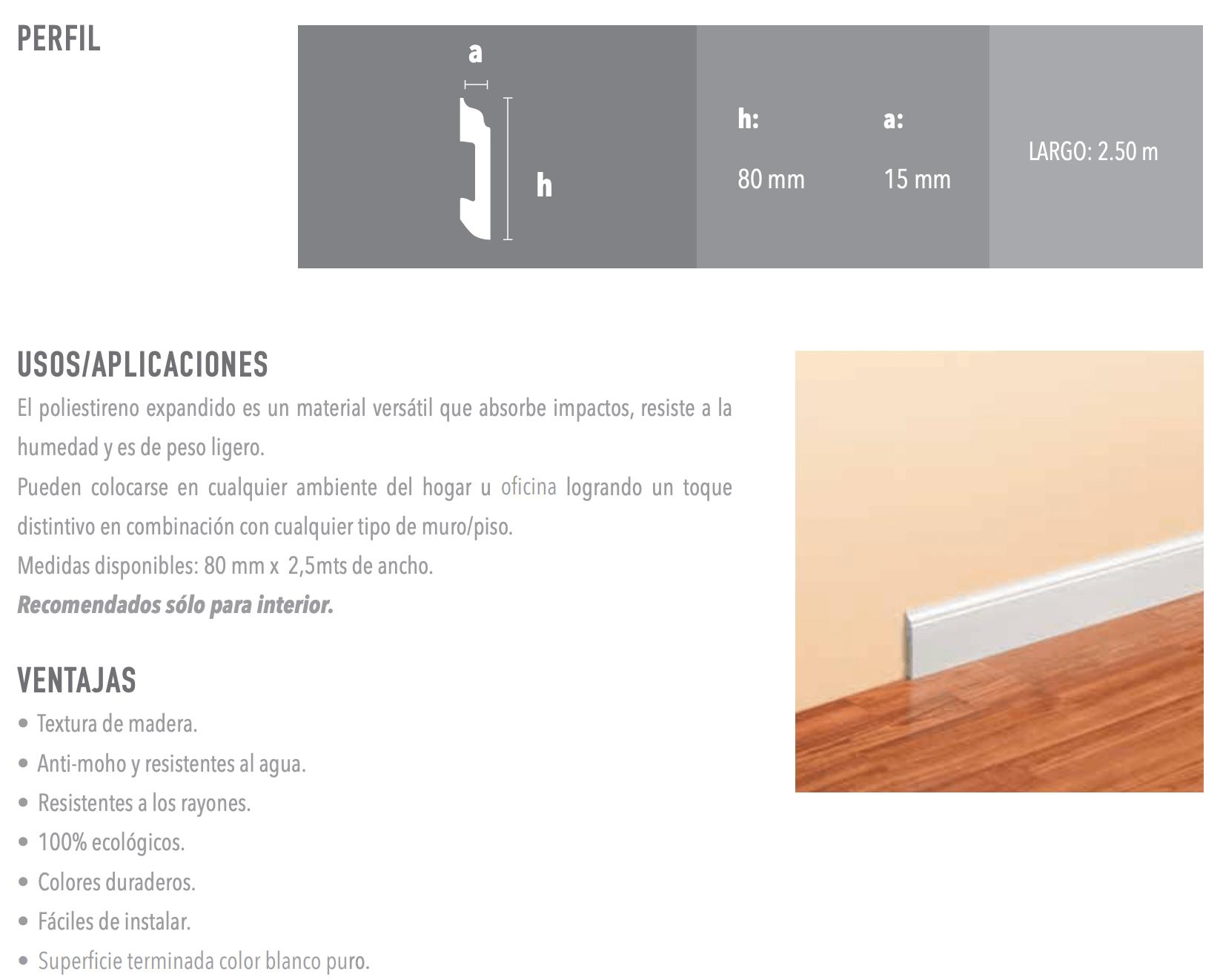 Zocalo Atrim Curves 80mm 2340 X 2,5 Mt Blanco