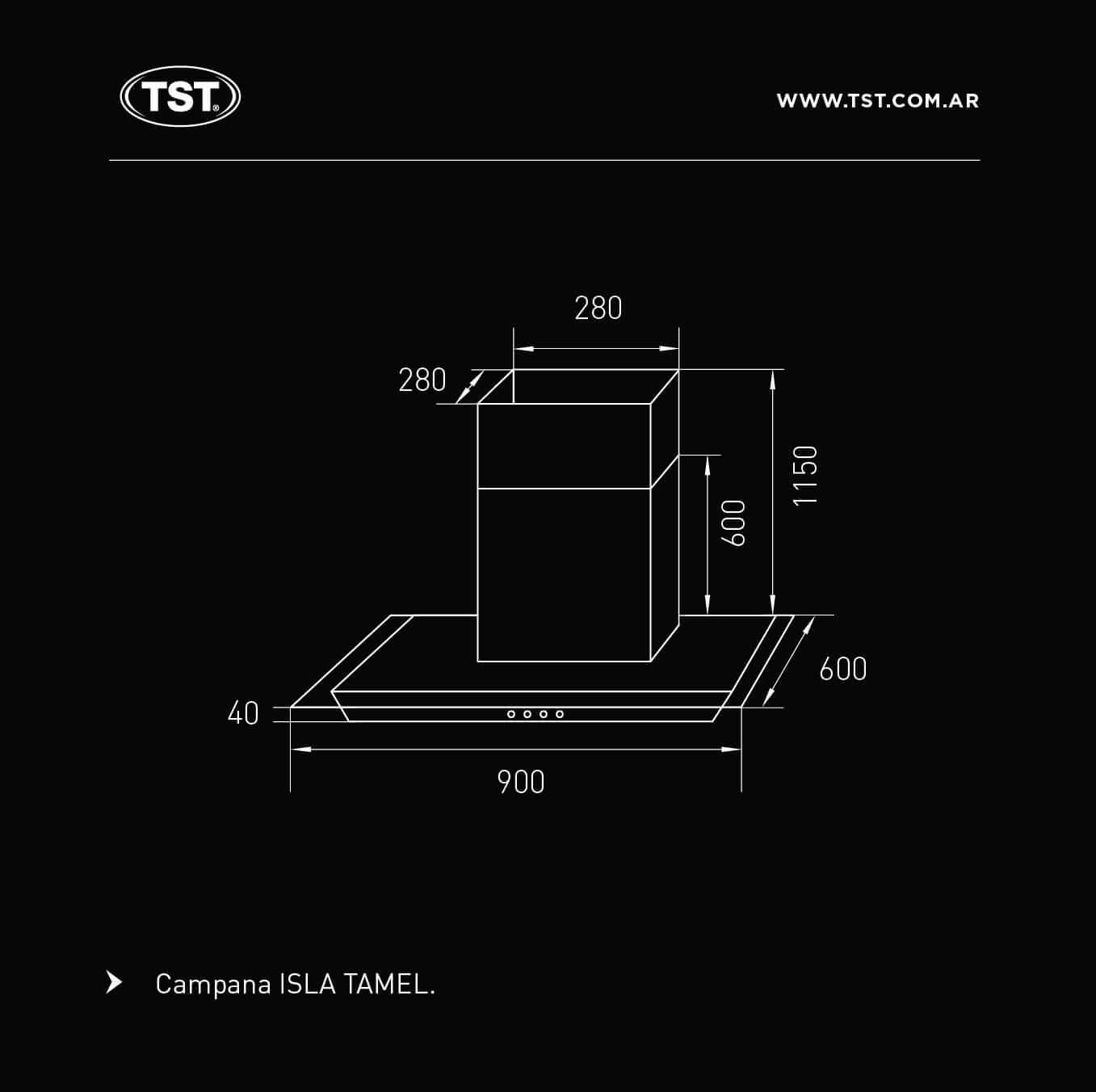 Campana TST Tamel Isla 90 cm