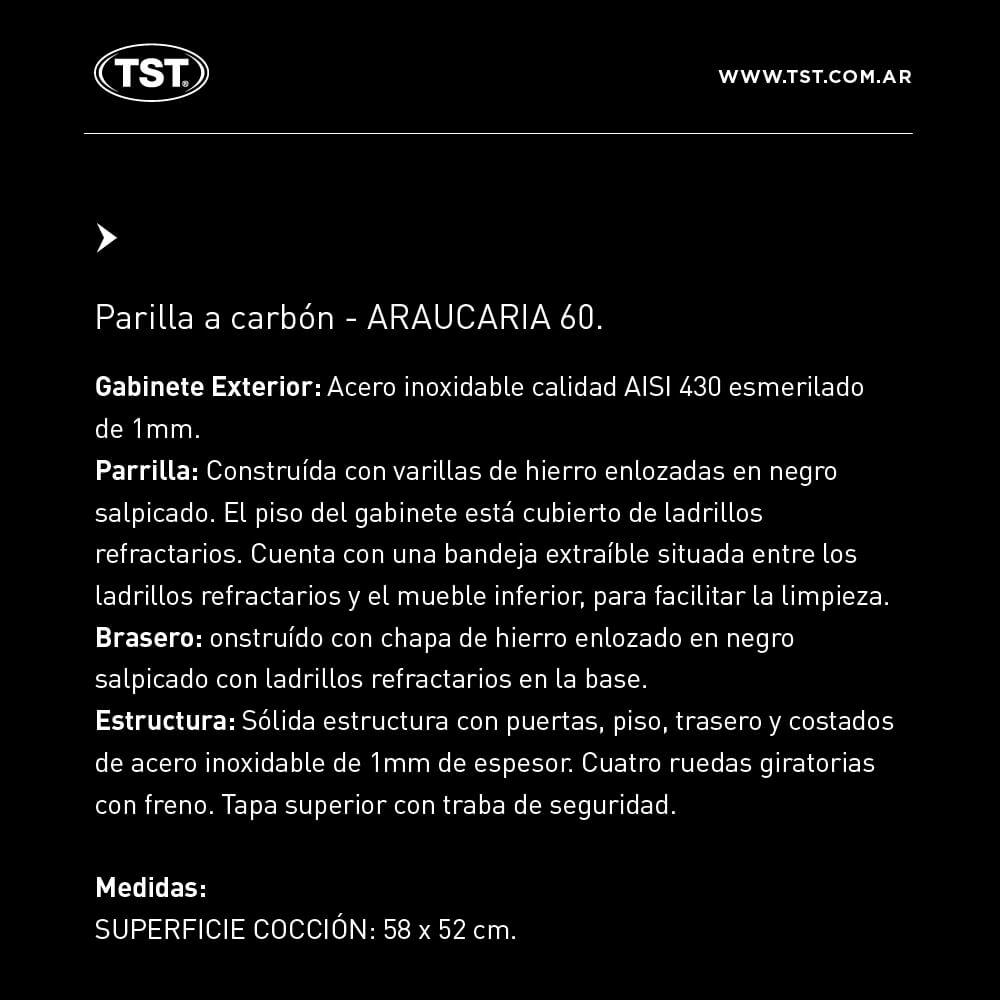 Parrilla TST Araucaria a Carbon 60 cm