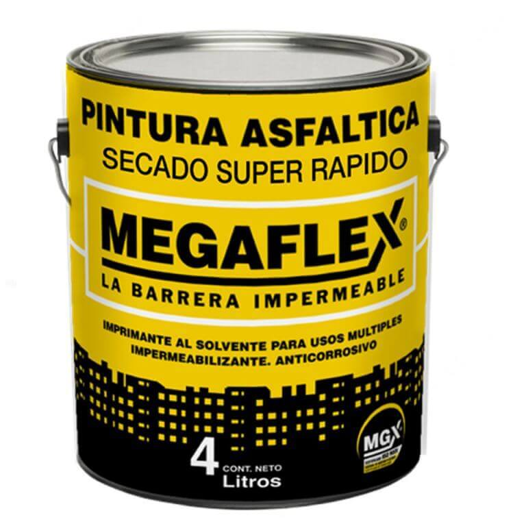 Pintura Asfaltica Secado Super Rapido MEGAFLEX 4 Lts.