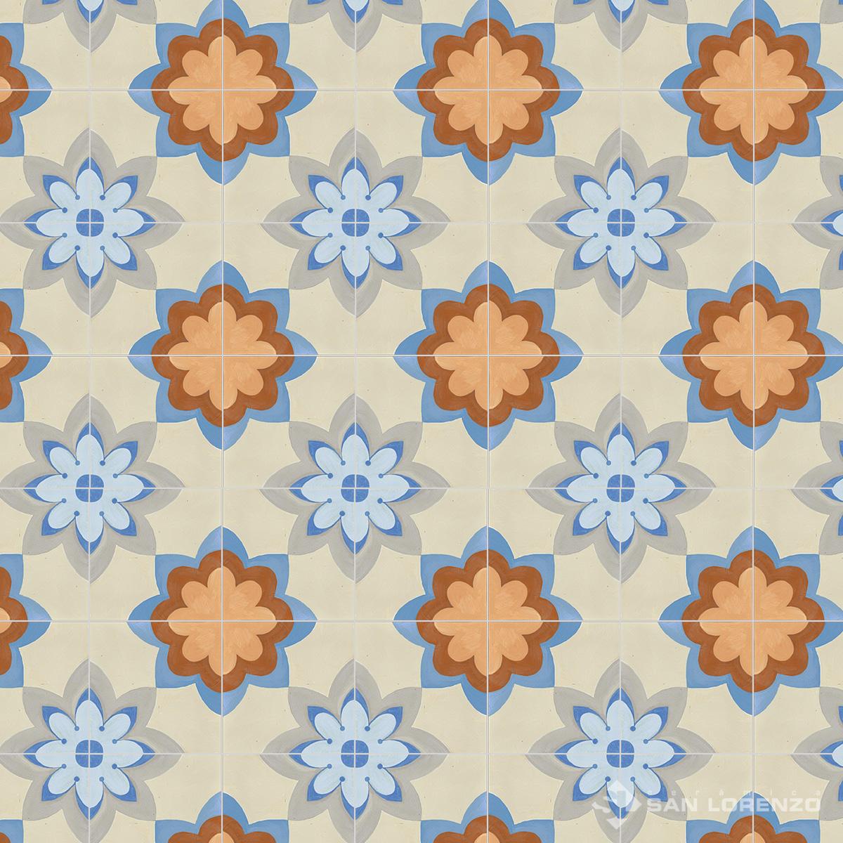 Porcelanato Esmerilado San Lorenzo Volta Flora 18,5X18,5 Cj 0,55 M2
