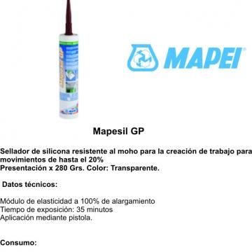 Sellador Mapei Mapesil Gp Transp. X 280 Grs