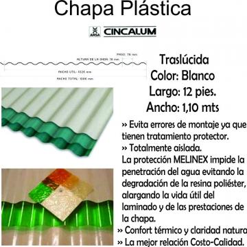 Chapa Plastica  3,65 Mts X 1,10 Mts Blanca