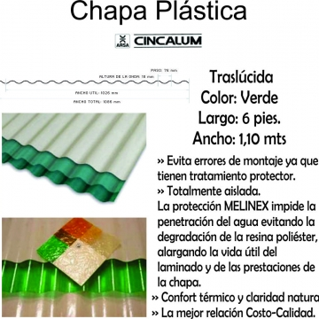 Chapa Plastica  1,80 Mts X 1,10 Mts Verde