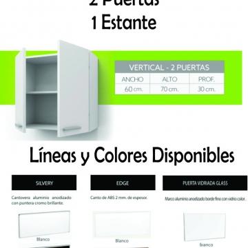 Alacena Itar Silvery 0,60 2 Puertas Blanca