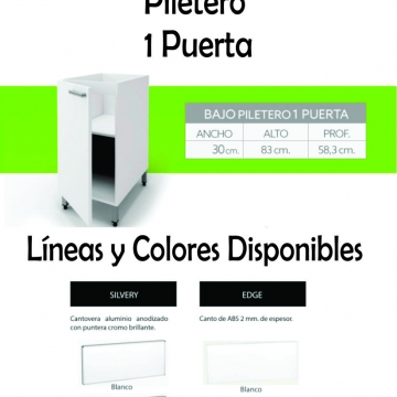 Bajo Mesada Itar Silvery 30 cm Blanco