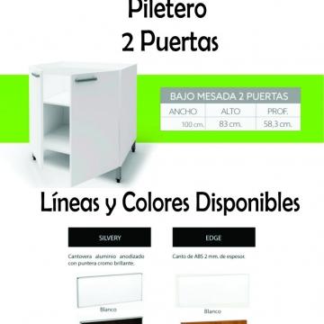 Bajo Mesada Itar Silvery 100 cm Blanco