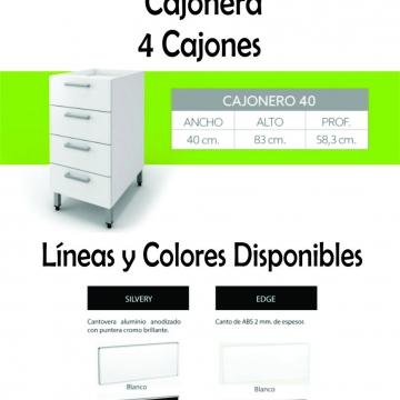 Cajonera Itar Edge 0,40 4 Cajones Blanco