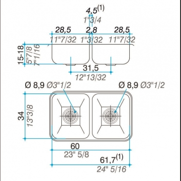 Pileta Acero Inoxidable Johnson C28 59,8X34X15 Doble