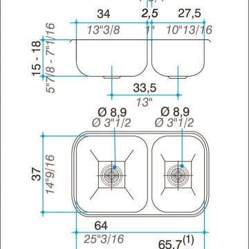 Pileta Acero Inoxidable Johnson R63 63,8X37X15 Doble