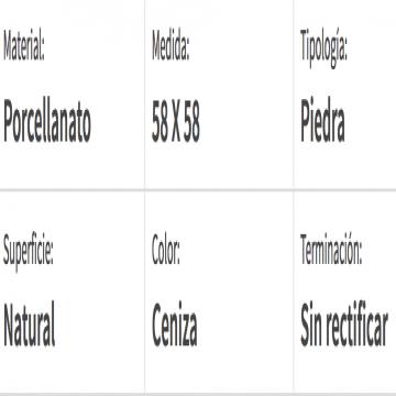 Porcelanato Esmerilado San Lorenzo Rock Ceniza 58X58 Cj.1,35