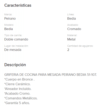 Juego Cocina  Mesada Peirano Bedia 51-107 Cr