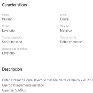 Juego Lavatorio Peirano Courel 220 Cr.