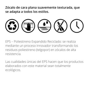 Zocalo Atrim Plain 70mm 2310 X 2,5 Mt Blanco Texturado