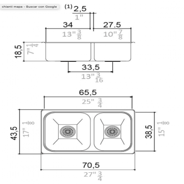 Pileta Acero Inoxidable Johnson R63/18F 70,5X43,5X18,5