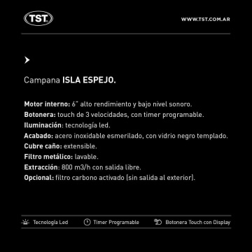 Campana TST Espejo Isla 90 cm
